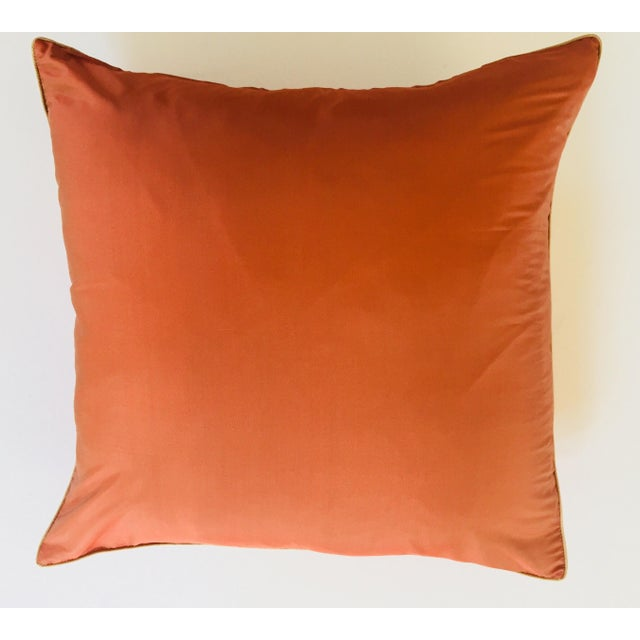Jim Thompson lotus flower print large 22 inches square linen and silk decorative pillow in orange color. Elegant burnt...