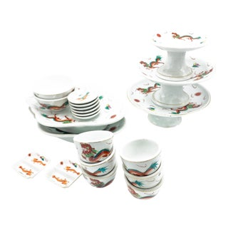Antique 21 Piece Chinese Porcelain Serving Set, With Hand Painted Dragon Motifs (Serves 6 People) For Sale
