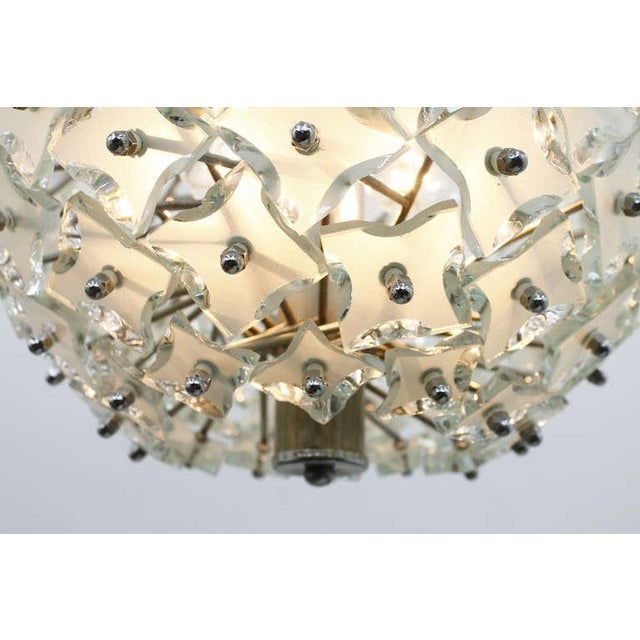 """Glass and Metal """"Snowball"""" Chandelier, Italy, 1960s For Sale - Image 6 of 8"""