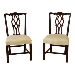 Pair Kindel Oxford Mahogany Chippendale Dining Side Chairs For Sale