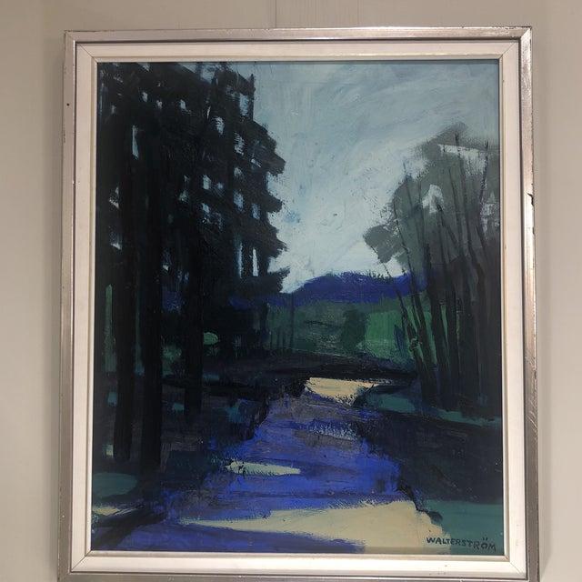 Oil on linen. Framed and singed. Forest scene.