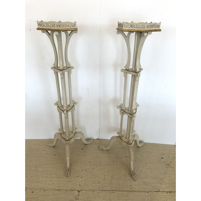 French Painted Ivory and Gilded Plant Stands -A Pair For Sale - Image 10 of 10