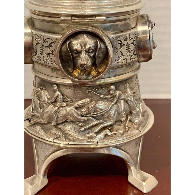 Silver Antique English Silver Plated Equestrian Inkwell, With Dogs & Foxes For Sale - Image 8 of 13