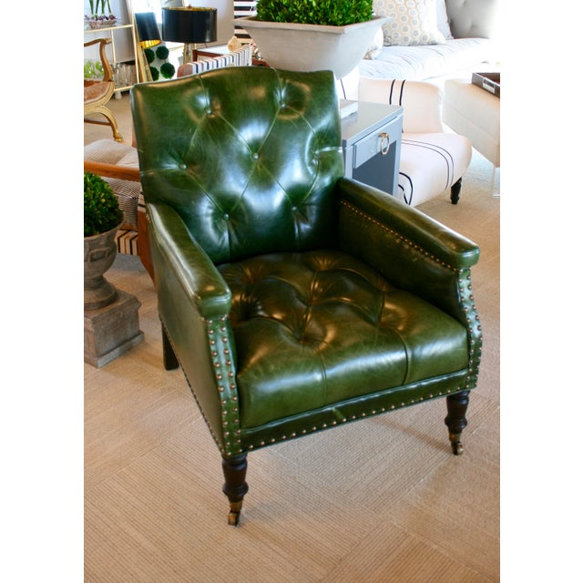 """Gallant Chair in Solvang Forest Green with brass nail heads + turned front legs with castors. DIMENSIONS Overall: 29""""w x..."""