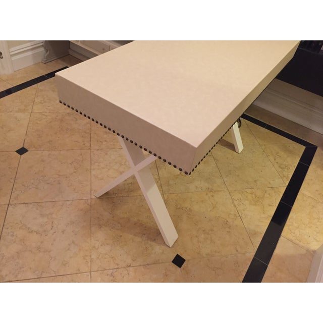 Custom Ivory Leather Desk with Nailhead Trim - Image 8 of 9