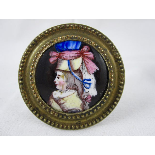 Staffordshire 18th Century English Battersea Enamel Curtain Tiebacks- A Pair For Sale - Image 4 of 9