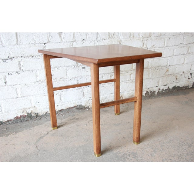 Edward Wormley for Dunbar Walnut Cantilever Wedge End Table, 1950s For Sale In South Bend - Image 6 of 13