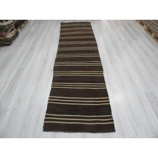 Vintage Brown & White Striped Kilim Runner - 3′1″ × 11′10″ Preview