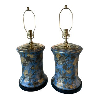 Vintage Large Floral Porcelain Chinoiserie Blue Drum Table Lamps New Wiring -A Pair For Sale