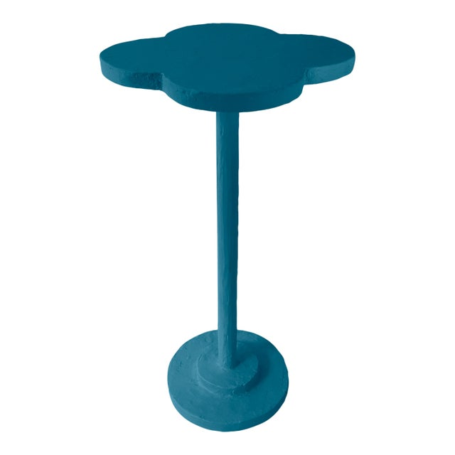 Contemporary Atrium Accent Table in Blue Danube For Sale - Image 3 of 3