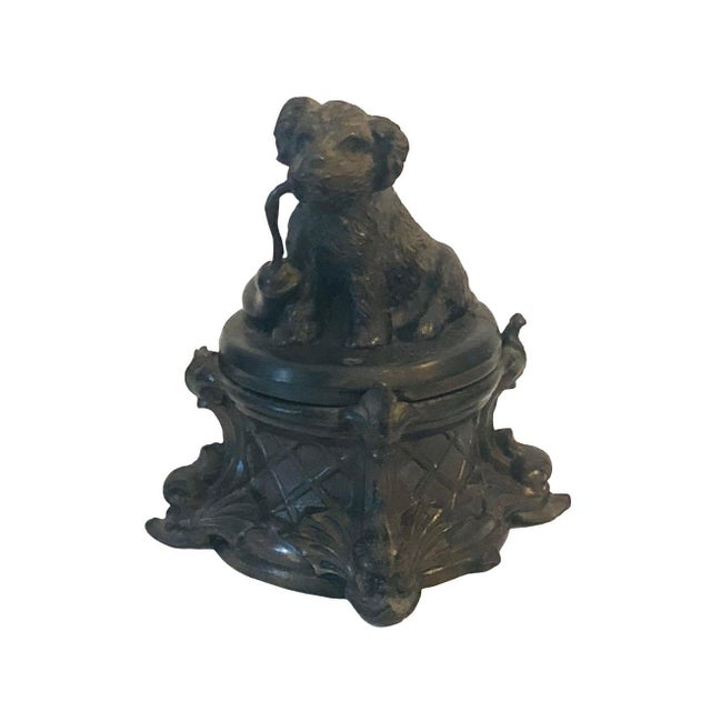 Black 19th Century French Inkwell With Dog For Sale - Image 8 of 8