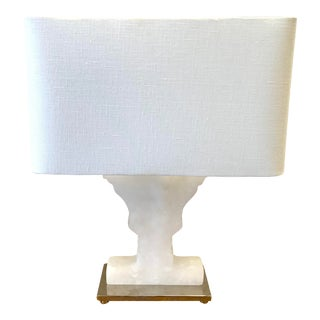 White Alabaster Urn Shape Lamp With Shade For Sale