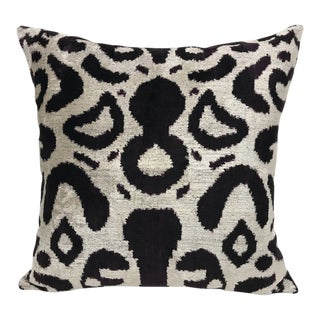 Graphite and Cream Silk Velvet Down Feather Pillow For Sale