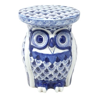 Vintage Blue and White Ceramic Owl Plant Stand For Sale