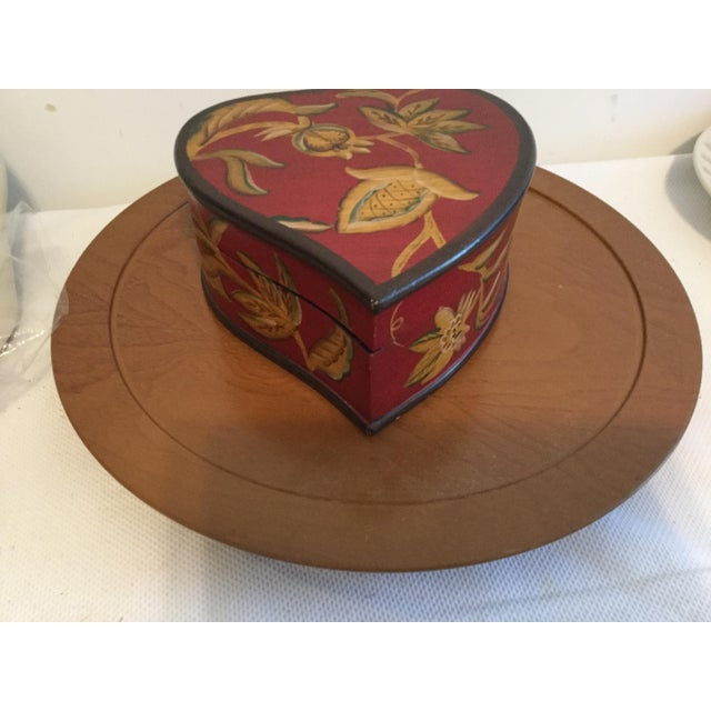 2010s Hand Painted Decorative Wooden Heart Shaped Box For Sale - Image 5 of 5