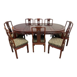 Asian Rosewood Extension Dining Table + Eight Chairs Set For Sale