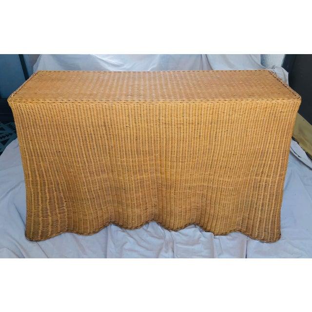 "Trompe l'Oeil ""Drape"" Wicker Ghost Console Table For Sale - Image 11 of 11"