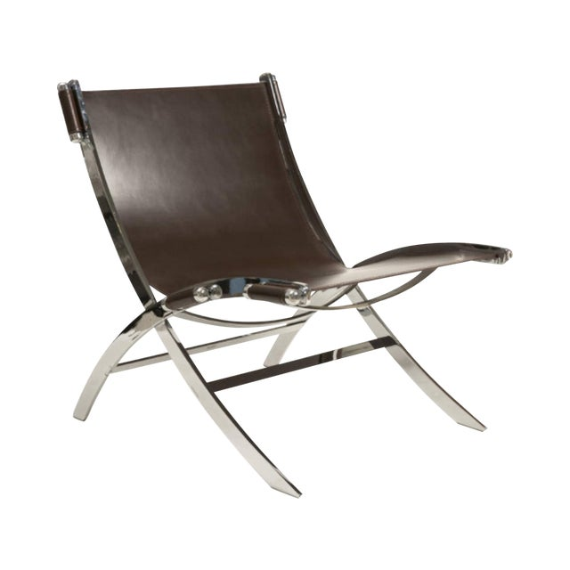 Leather and Chrome Sling Chair Paul Tuttle - Image 1 of 6