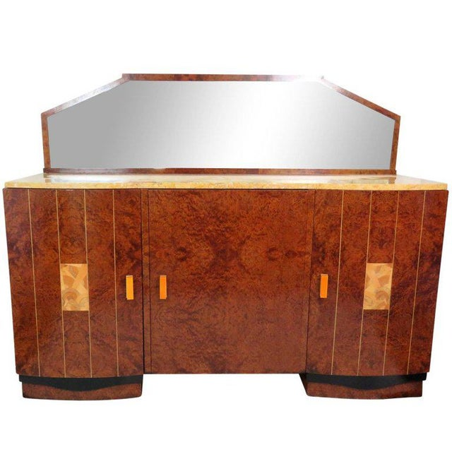 Mid Century Modern Burl Walnut Inlaid Marble-Top Sideboard With Mirror For Sale - Image 11 of 11