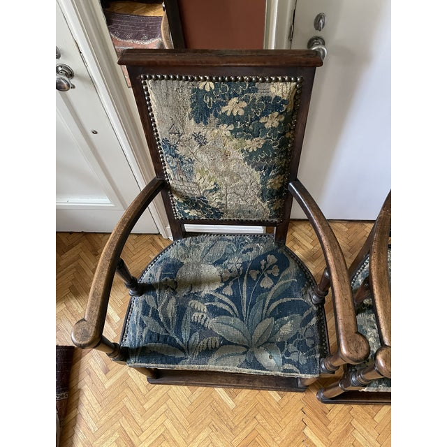 Baroque Charles II Revival 19th Century Walnut Arm Chairs With 17th Century Verdure Tapestry Upholstery - a Pair For Sale - Image 3 of 13