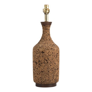 Mid Century Bottle Shaped Walnut Cork Table Lamp For Sale