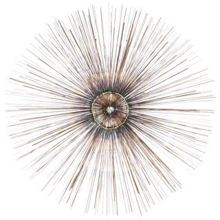 Copper Sunburst Wall Sculpture, 1950s For Sale