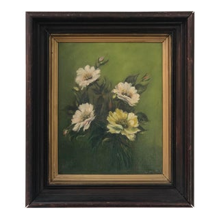 Vintage Floral Oil on Canvas Painting For Sale