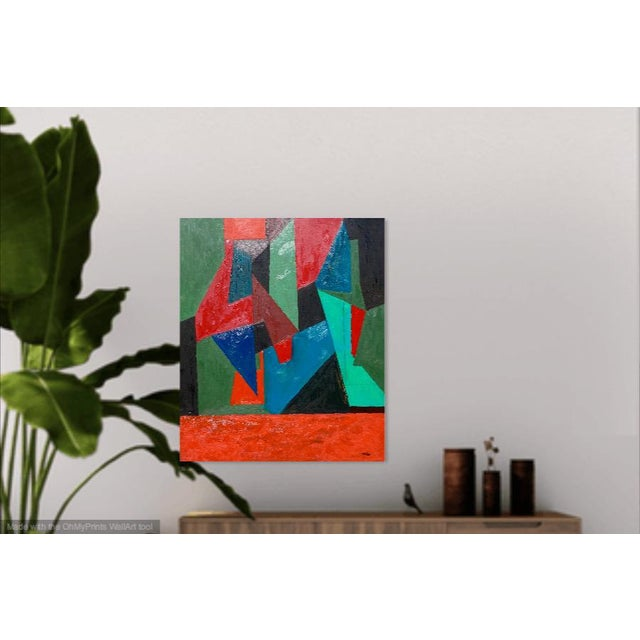 This stunning oil painting is of a cubist nature, the forms intersect to create a visual interplay of colors. The painting...