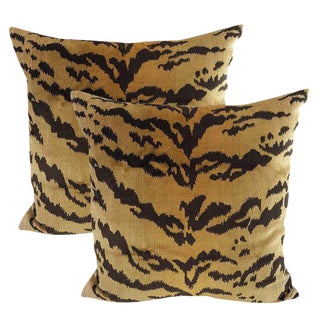 Silk Velvet Tiger Down Feather Accent Pillows. A Pair