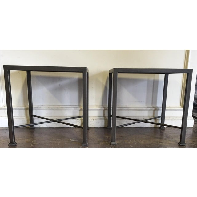 Custom Iron and Wood Side Tables - A Pair - Image 2 of 6