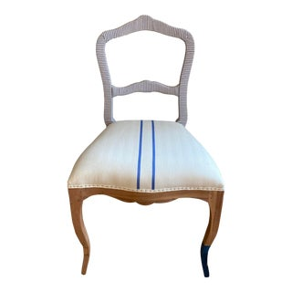 Bunakara Fingerprint Two Stripe Side Chair in Ultra Marine For Sale