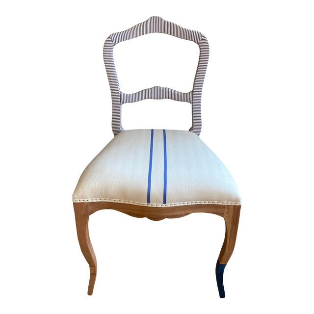Bunakara Fingerprint Two Stripe Side Chair in Ultra Marine For Sale