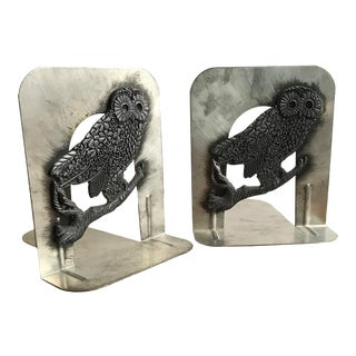 Vintage Pewter and Steel Owl Bookends by Metzke Company-a Pair For Sale
