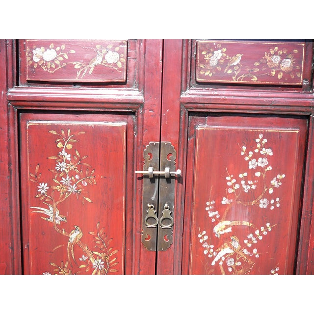 Vintage Chinese Armoire with Flower & Bird Accents For Sale - Image 4 of 6