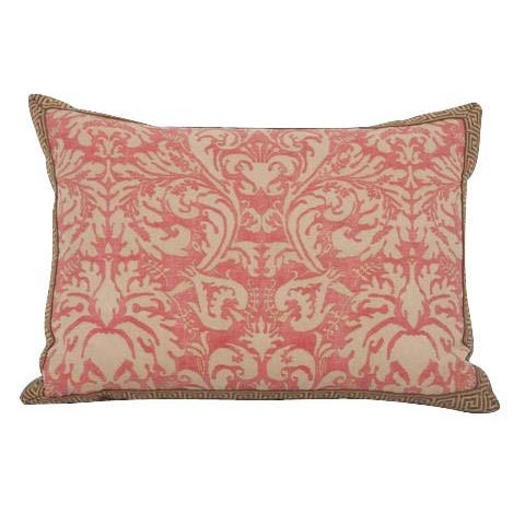 19th Century Pair of Fortuny Fabric Pillows With Greek Key Trim For Sale - Image 5 of 6