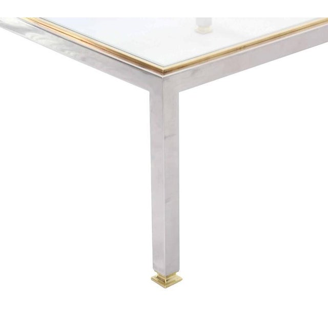 Large Square Chrome and Brass Mid-Century Modern Coffee Table For Sale - Image 4 of 6