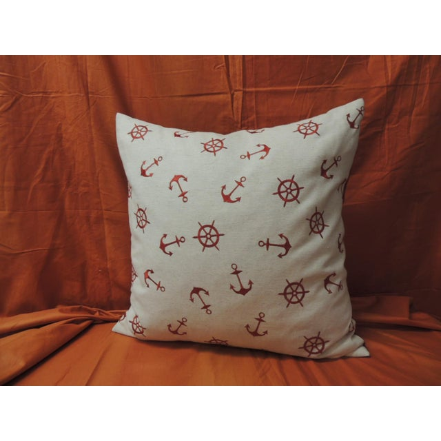 Early 21st Century Red and Natural Embroidered Nautical Decorative Pillow For Sale - Image 5 of 5