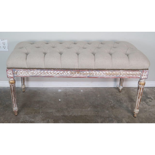 French Louis XVI Style Painted Bench C. 1930 For Sale - Image 12 of 13