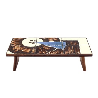 Mid-Century Modern Rosewood and Tile Top Folding Legs Serving Tray For Sale