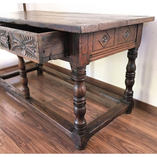 Wood 17th Century Spanish Refectory Table or Farm Table With Drawers For Sale - Image 7 of 10