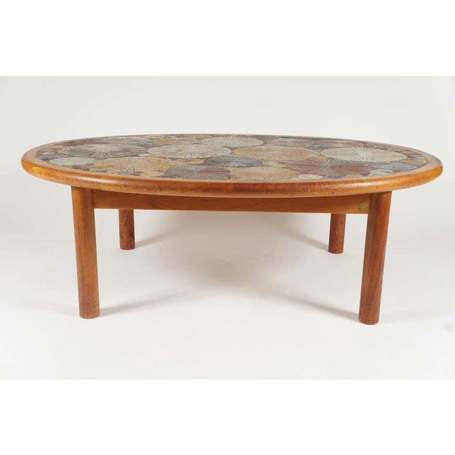 1960s Teak Tue Poulsen Ceramic Art Tile Coffee Table by Haslev 1960s Made in Denmark For Sale - Image 5 of 12