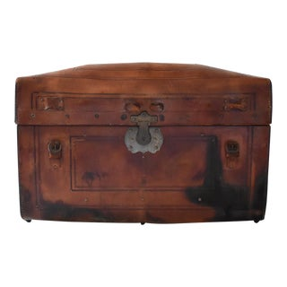 Late 19th Century Leather Domed Steamer Trunk For Sale