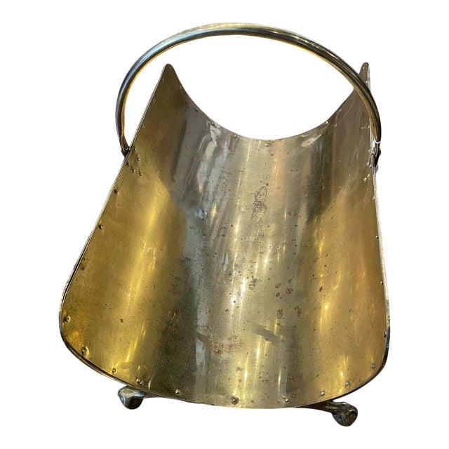 Vintage Industrial Brass Log Holder For Sale