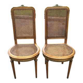 French Louis XVI Bronze Mounted Inlaid Style High Back Cane Side Chairs - a Pair For Sale