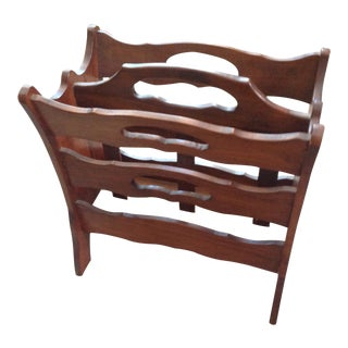 Vintage Mid Century Wood Sculpted Magazine Rack For Sale