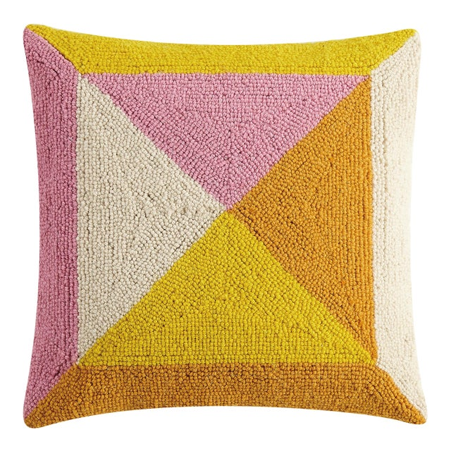 """Warm Geometric Square Hook Pillow, 16"""" x 16"""" For Sale"""
