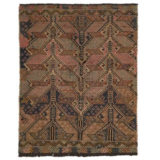 Pink and Blue Hand-Embroidered Cicim Kilim | 3'3 X 4'1 For Sale