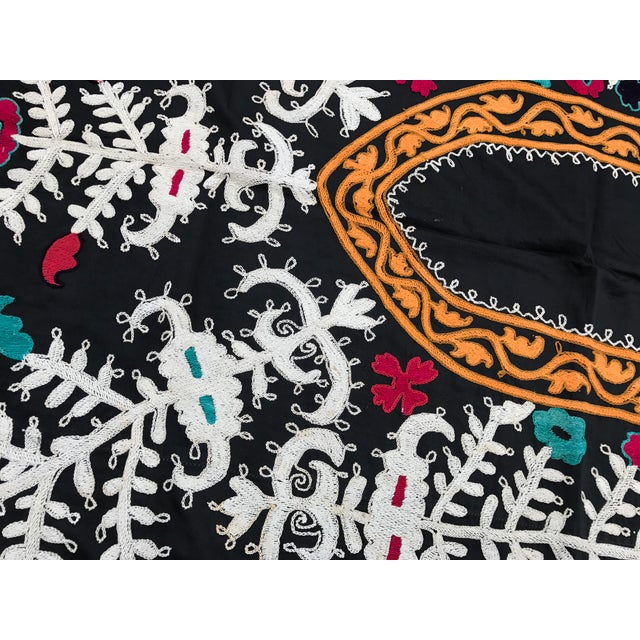 Boho Chic Antique Black & White Suzani Fabric For Sale - Image 3 of 6