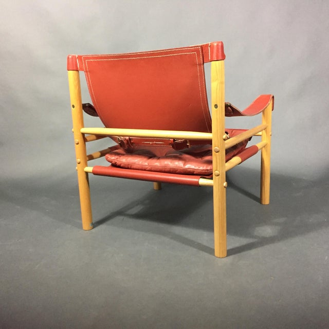 Pair of Arne Norell Red Leather Sirocco Chairs For Sale In New York - Image 6 of 11
