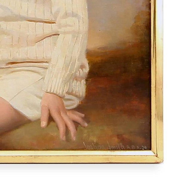 1929 Seated Young Boy Portrait Painting by Joshua Smith R.B.A. For Sale In Houston - Image 6 of 9